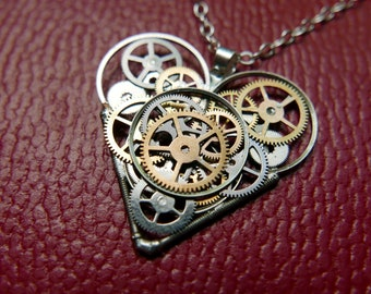"Clockwork Heart Pendant ""Esdaile"" Steampunk Necklace Industrial Gear Mechanical Watch Parts Love Gift Wife Girlfriend Birthday Gift"