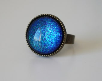 Blue Galaxy Ring Universe Ring Galaxy Space Ring Space Nebula Ring Cosmic Ring Astronomy Ring Outer Space Jewelry Cute Galaxy Jewelry gift