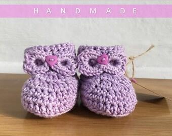 Baby Girl Booties/ Crochet Booties/ Baby Girl Present/ Newborn Baby Booties