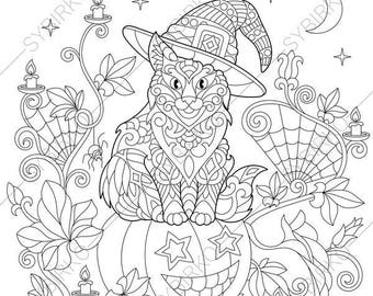Cat on Halloween Pumpkin. 2 Coloring Pages for Happy Halloween greeting cards. Animal coloring book pages for Adults. Instant Download Print