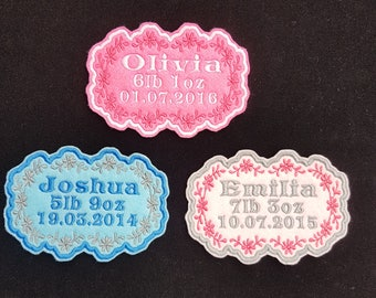 Personalised baby's Name and birth Embroidered Name Patch Badge Iron on or sew