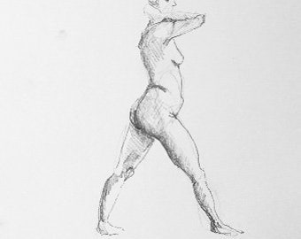 Standing Woman - A5 - Original Life Drawing