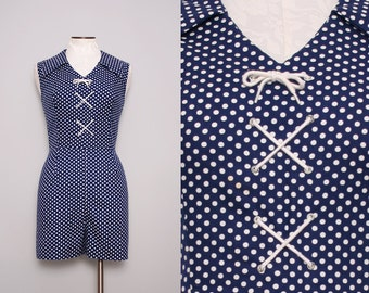 1950s Romper. 1950s Playsuit. Nautical Romper. Lolita Style Pin Up Playsuit. 50s Playsuit. Vintage 1950s Romper. Navy Blue Romper Size Large