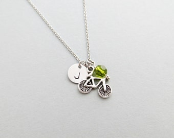 Bicycle Initial Necklace Personalized Hand Stamped - with Silver Bicycle Charm and Custom Bead