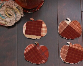 Quilted  Pumpkins for Garlands or Applique, Recycled