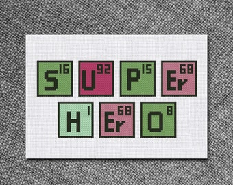 cross stitch pattern super hero periodic table instant download pdf counted chart