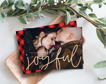 Editable Template - Instant Download Shimmering Joyful Holiday Photo Card