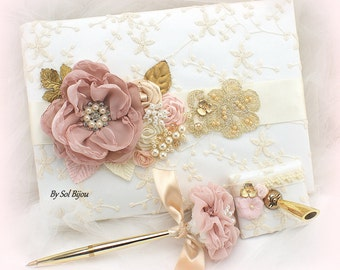 Wedding Guest Book Lace Guestbook Rose Gold Ivory Vintage Style Signature Book Guest Sign In Book Custom Book