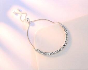 Elegant adjustable sterling silver plated rhodium bangle bracelet