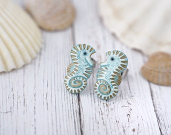 Little Seahorses Stud Earrings Seahorse Hippocampus Earrings 1 Glossy