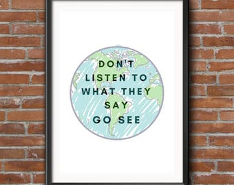 Wanderlust Wall Decor, Travel quote print, Gift for a traveler, Typography Poster,