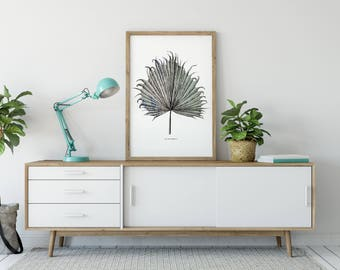 Hand Screen Printed Large A2 Tropical Palm Leaf Print - Leaf / Botanical Design