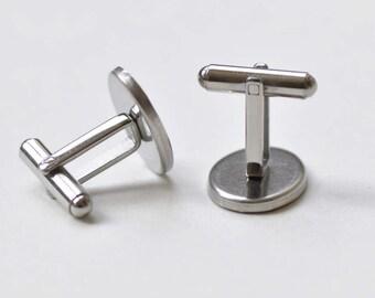 10 pcs Platinum Oval Cufflinks Blanks Cuff Links Match 13x18mm Cabochon A8499