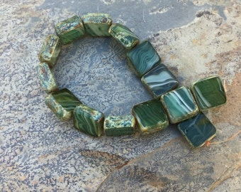 Green Czech Glass Beads, Square Beads, Green and White Beads, 11 mm, 15 beads