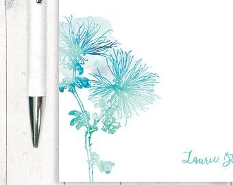 personalisierte Notizblock - Aquarell MUM SPINNENBLUME - botanische Briefpapier - stationär