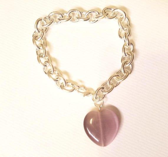 purple glass heart silver chain bracelet womens handmade jewelry