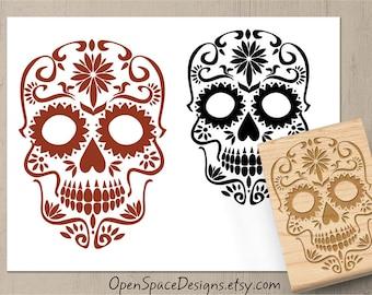 Sugar Skull Stamp, Halloween Skull Stamp, Day of the Dead Stamp, Dia de los Muertos, Skull Rubber Stamp, 180