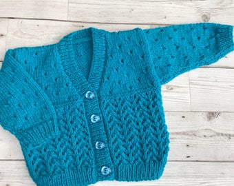 Hand knitted baby cardigan, 3-6 months baby sweater, teal baby knitwear,baby girl clothing, baby gift ideas, baby shower gift