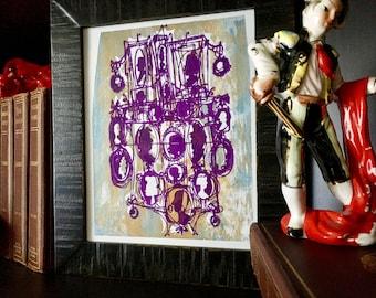 Cameos #122 | comic silhouettes in purple over metallic copper and blue, a unique handpulled screenprint (8x10)
