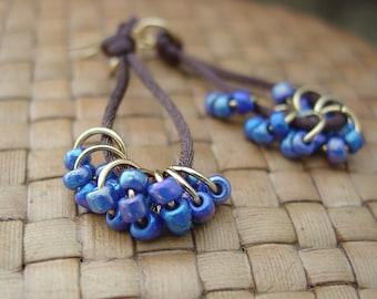 Blue Beaded Dangle Earrings on Nylon Cord, Gold Plated, Long Dangle