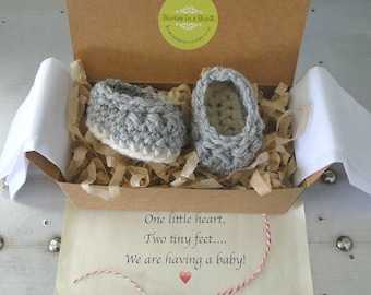 Grandparent Pregnancy Announcement,  Pregnancy Reveal Booties,  BOOTIES IN A BOX®, Baby Boy or Girl Booties, All Natural Yarn, Ready to Ship