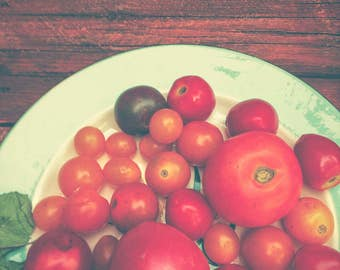 Tomato Photograph - Still Life Photography - Organic - Food Photography - Farmhouse Wall Art - Summer - Red Orange Brown Print - Kitchen Art