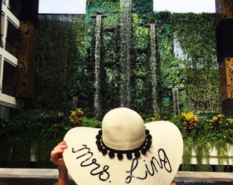 Bespoke personalised custom straw hat
