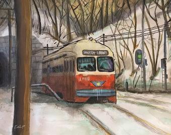 Pittsburgh Trolley Watercolor 14x11 Digital Download