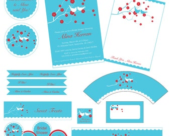 Bridal Shower Party Package Pack, Pick You Own Color Combo, Cherry Blossom Love Birds Invitation More, DIY Digital Files CUSTOM