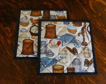 Quilted Pot Holders/ Handmade Quilted/ Country Decor Farm Theme /Set of two