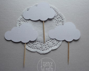 12 cloud cupcake top, white cloud, Birthday Party, Baby Shower, Birthday cupcake Top