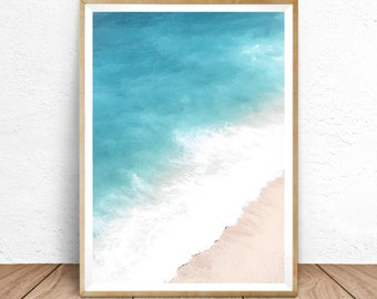 Aerial Beach Print, Beach Lovers Gift, Aerial Beach Photography, Teal Wall Art, Beach Poster, Beach Aerial, Turquoise Water, Modern Wall Art