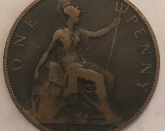 Dated 1897 One Penny Coin Queen Victoria Great Britain