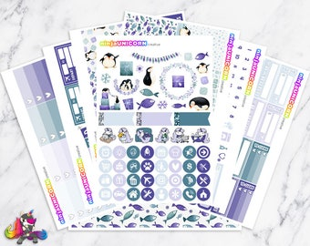 Penguin Wishes || Planner Sticker Kit, Winter, Penguin, Planner Stickers, Planner Kit, Winter Stickers, Penguin Stickers