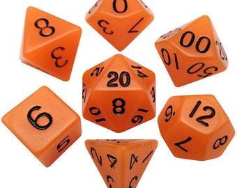 7-Die Set Glow: Orange/Black- MTD304 - Metallic Dice Games