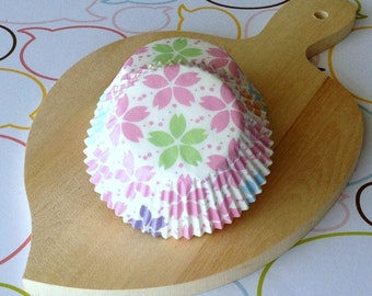 SALE - Sakura/Cherry Blossom Pastel Cupcake Liners