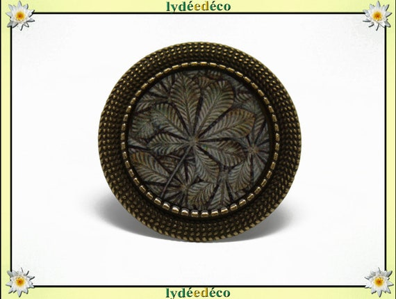 Retro round ring leaf vintage brown beige gray tree resin and brass bronze adjustable 20mm diameter