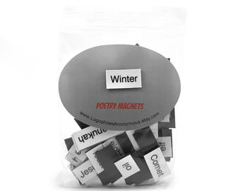 Winter Poetry Magnets - Refrigerator Poetry Word Magnets - Free US Shipping