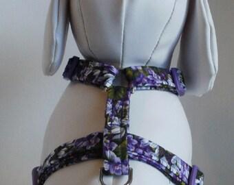 Pet Harness, Dog Harness, Pet Accessory, Large Dog Harness, Small Dog Harness, Pet Accessories,  Dog Harnesses, Purple Floral