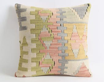 Pale kilim handwoven pillow case, wool pillow, mexican tribal, home décor, cushion, aztec, navajo pillows, rug pillow, kilim pillow