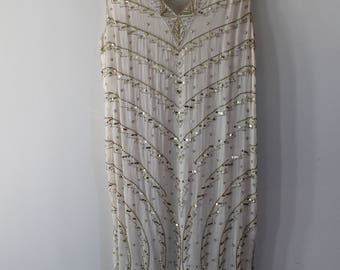 STAR GROUP vintage hand beaded 50's style gold and cream dress pure silk gown size S