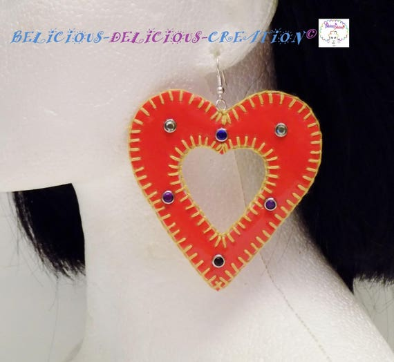 Original: Earrings! INNER HEART. Faux leather red size 8cm x 8 cm belicious delicious creation