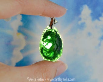 Dragon Egg Necklace - Medium Scaled Green Egg - In Stock and Ready to Ship