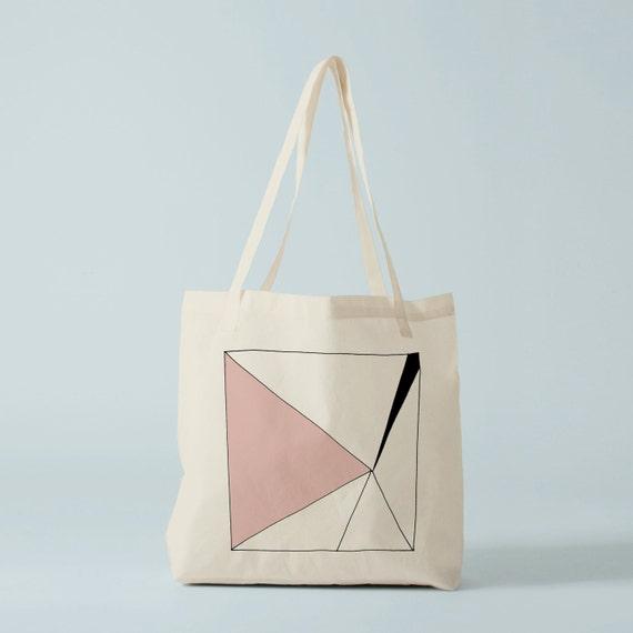 Pink Triangle Tote bag. Cotton bag, sports bag, yoga bag, baby bag, groceries bag, school bag.