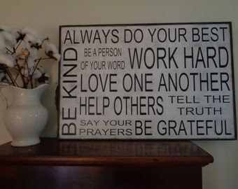 Always do your best, Family Rules Sign, Custom Family Rules Sign,36x24