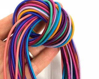 2mm Elastic Drawcord in over 200 colours, polyester elastic cord / round stretch rope cord / Sold by the yard