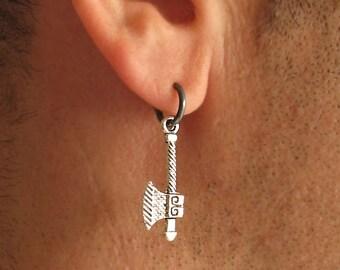Mens Earrings, Viking Axe Earring for Men, Single Hoop Earring, Unique Mens Jewelry, Single Earring, Black Earring for men, gothic jewelry