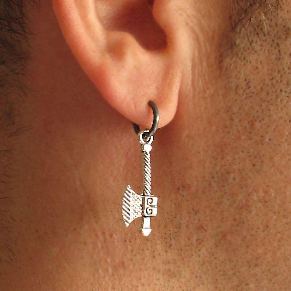 Mens Earrings Viking Axe Earring for Men Single Hoop
