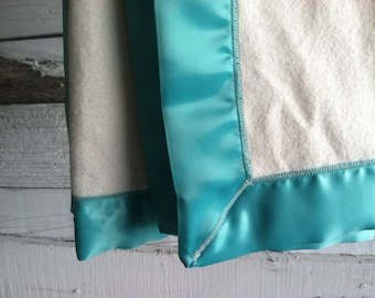 Organic Cotton Fleece Blanket with Aqua Satin Blanket, Baby Gifts, Toddler Blanket, Satin Lovey - Made to Order