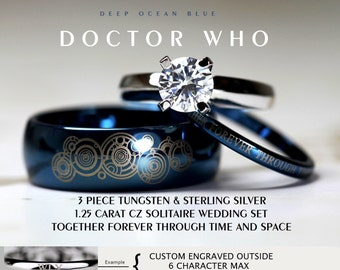 BLUE Doctor Who His 8mm Tungsten And Hers 4mm 925 Sterling Silver 1.25  Carat Solitaire CZ Wedding Ring Set, Custom Engraved